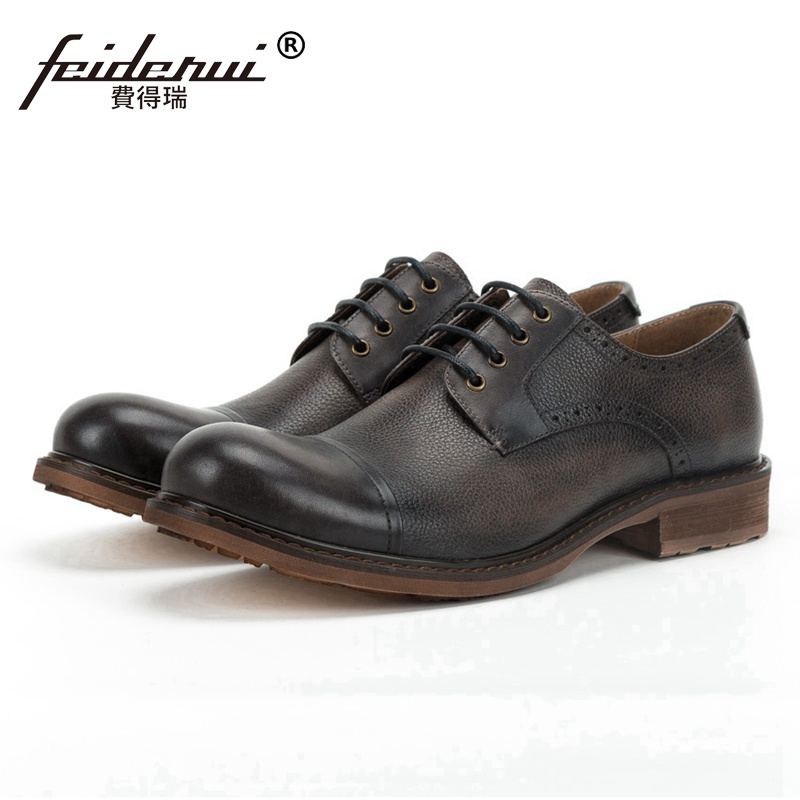 High Quality Genuine Leather Outdoor Men's Handmade Footwear British Style Round Toe Derby Platform Formal Dress Man Shoes SS269