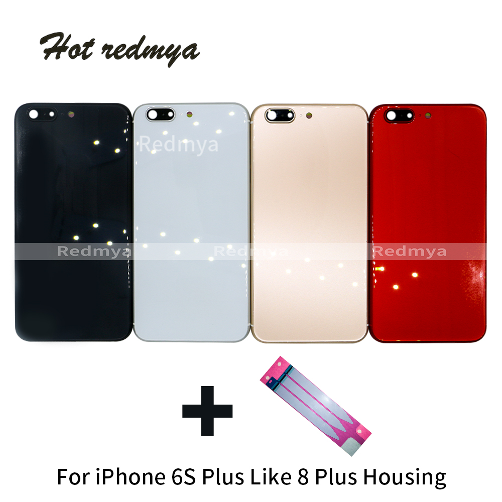 350384bf2c8 Back Battery Cover For iPhone 6S Plus Like 8 Plus Glass rear Body housing  for iphone 6s plus back housing 8P style cover Chassis