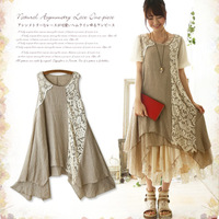 Women S Sweet Vintage Embroidery Lace Patchwork Cute Kawaii Sleeveless Princess Female Vestido Dresses Mori Girl
