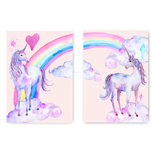 Nordic Style Pink Rainbow Unicorn Posters And Prints Watercolor Pegasus Painting Wall Art Decorative Picture Kids Decoration