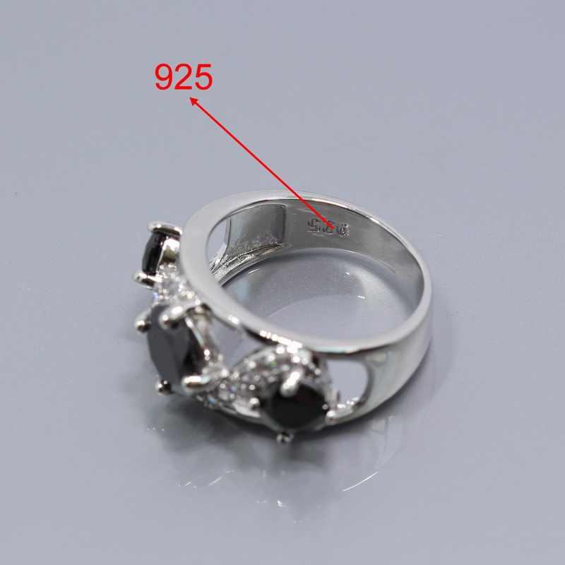 Zachód czarny cyrkon 4 sztuk 925 srebrny kolor biżuteria ślubna zestaw dla kobiet pierścień naszyjnik wisiorek bransoletka długie kolczyki Z04