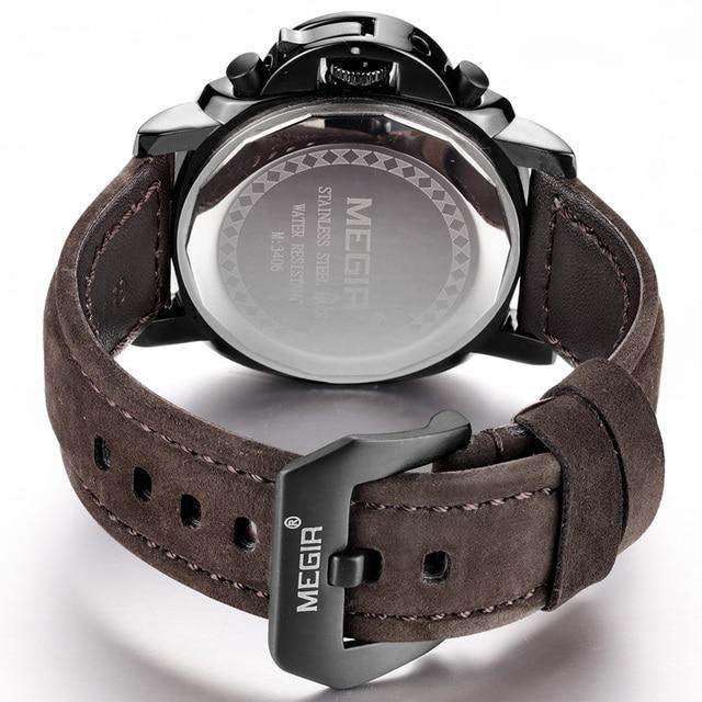 Megir Chronograph Casual Watch Men Luxury Brand Quartz Military Sport Watch Genuine Leather Men's Wristwatch Relogios Masculino