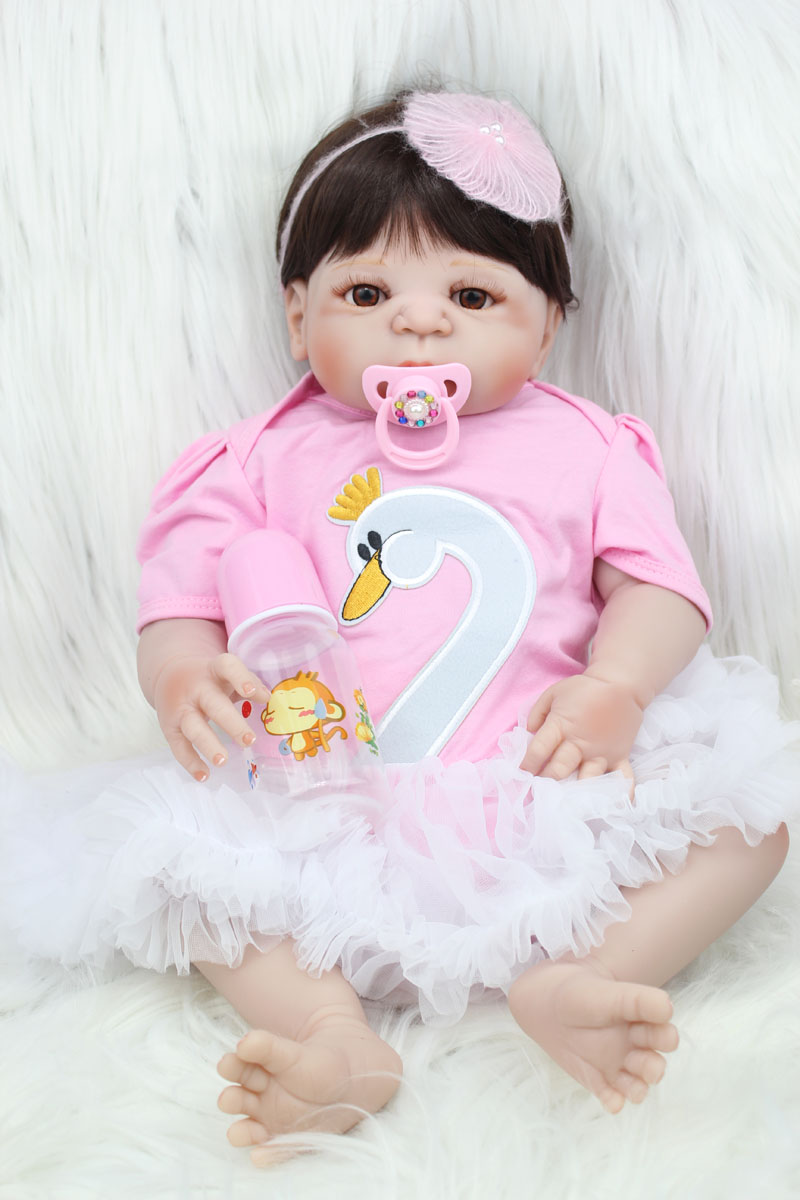 55cm Full Silicone Reborn Baby Doll Toy Lifelike 22inch Newborn Girl Princess Babies Doll Bathe Toy Birthday Gift Xmas Present