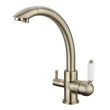 осмос вспять 3 путь Смеситель для кухни с функцией фильтрующей воды старинные бронзовые