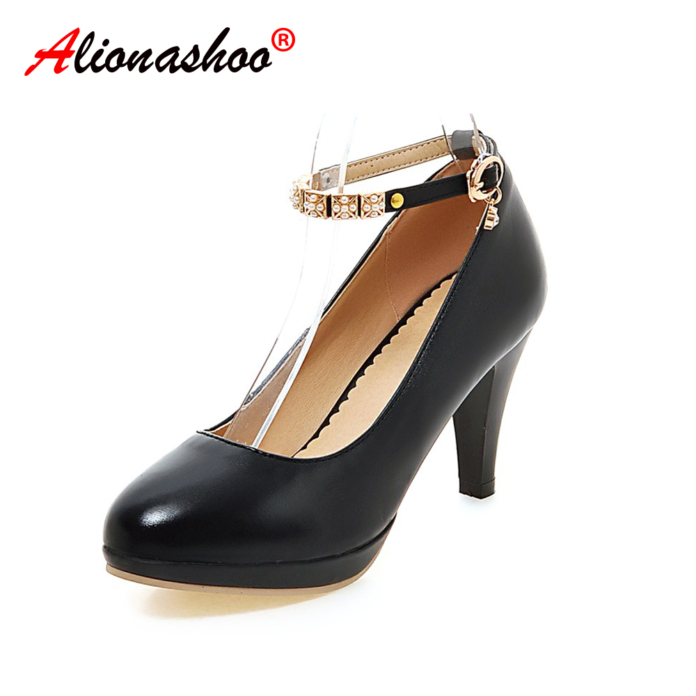 Women Pumps Fashion Classic Patent Leather High Heels Shoes Round Toe Metal Chains Wedding Women Dress Shoes Plus Size 34-43