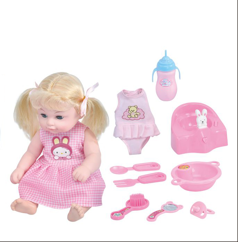12 Quot Washablepotty Baby Doll Set Long Blonde Hair Girl