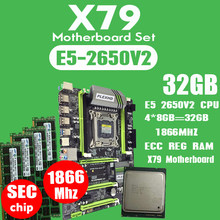 PLEXHD X79 توربو اللوحة LGA2011 ATX المجموعات E5 2650 V2 CPU 4 قطعة x 8GB = 32GB DDR3 RAM 1866Mhz PC3 1490R PCI-E NVME M.2 SSD(China)