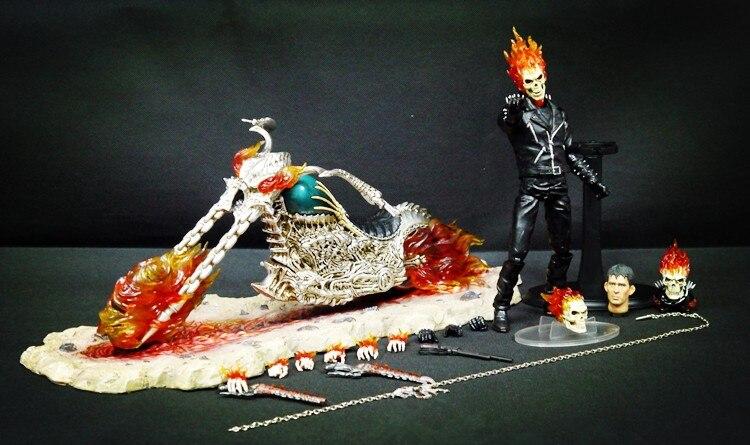 [Забавный] 44 см super hero Ghost Rider чрезвычайно сплава мобильный светодио дный Кукла СВЕТ огонь рыцарь и мотоцикл Рисунок украшения модель игрушки