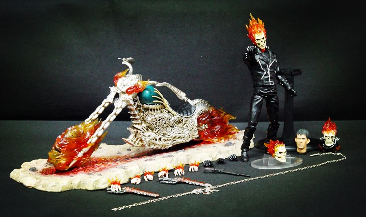 [Funny] 44cm Super hero Ghost Rider extremely alloy mobile doll LED light fire knight and Motorcycle figure ornaments model toy цена