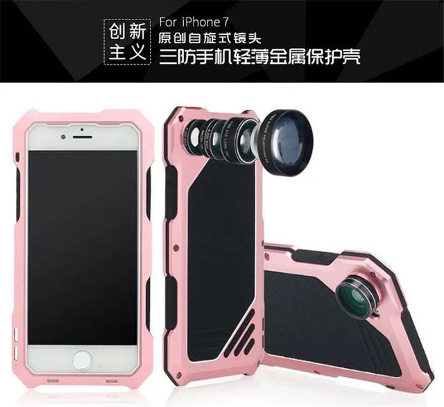 Água/choque/dirtproof três prova case capa do telefone shell pele com camera lens case para apple iphone 7/7 mais a série