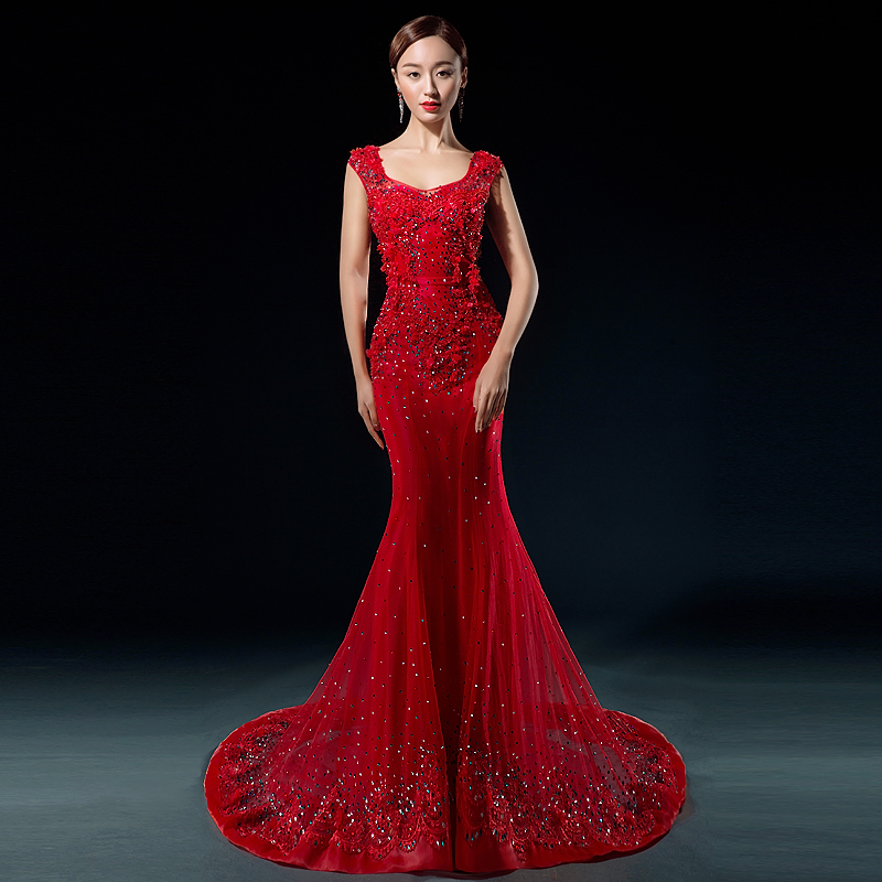 Red Lace Wedding Dress: New Design Fashion Luxury Bride Dresses Mermaid Lace