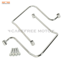 Chrome Motorcycle Saddlebag Support Brackets Case for Harley Dyna Fat Bob Wide Glide 2006 2017