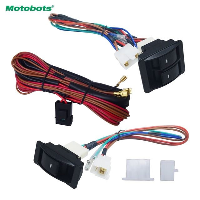 motobots 1set universal car front 2-door power window 3pcs switches &  holder wire harness with illumination green light #am2843