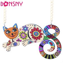 Bonsny Acrylic Cat Necklace Choker Chain Cute Animal Design Fashion Jewelry For Women 2017 News Style Unique Design Brand(China)