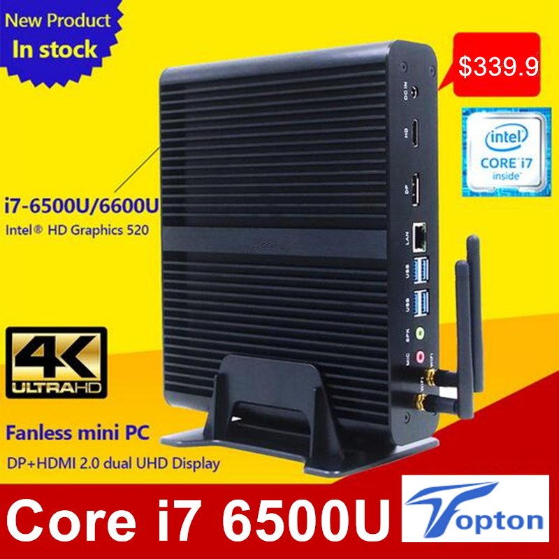 In Stock New 6TH Gen Core i7 6500U 6600U Skylake Fanless Mini PC Windows 10 Barebone