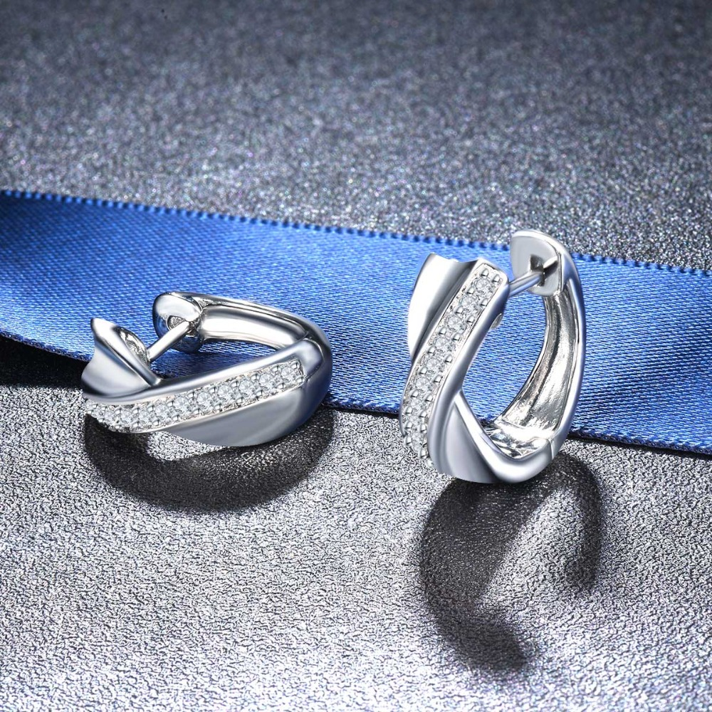 Hutang fine 925 sterling silver cross hoop huggie earrings aaaaa cz cubic zirconia for women daily