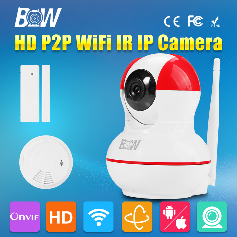 BW HD Wireless IP Camera WiFi Door Sensor + Smoke Detector 720P Night Vision Baby Monitor Security Surveillance Camera bw wireless wifi door