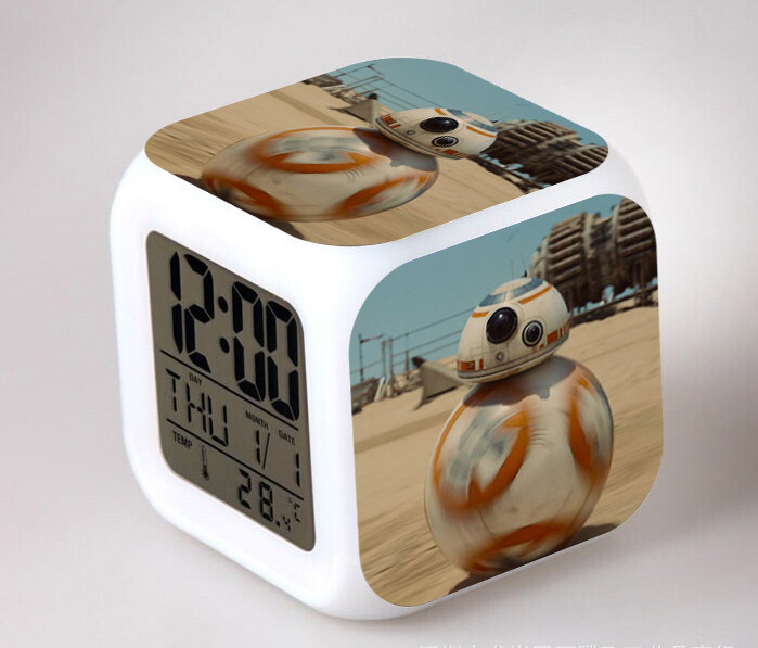 New  The Force Awakers Star Wars 7 BB-8  Elsa Alarm Clock Digital LED Klokken Alarm Clocks Relogio De Mesa Wake Up Gift