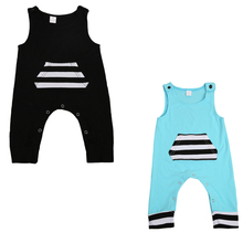 2017 pudcoco Newborn Toddler Baby Boy Girl Kid Cotton Striped Packet Outfit Romper Black Blue Jumpsuit Clothes