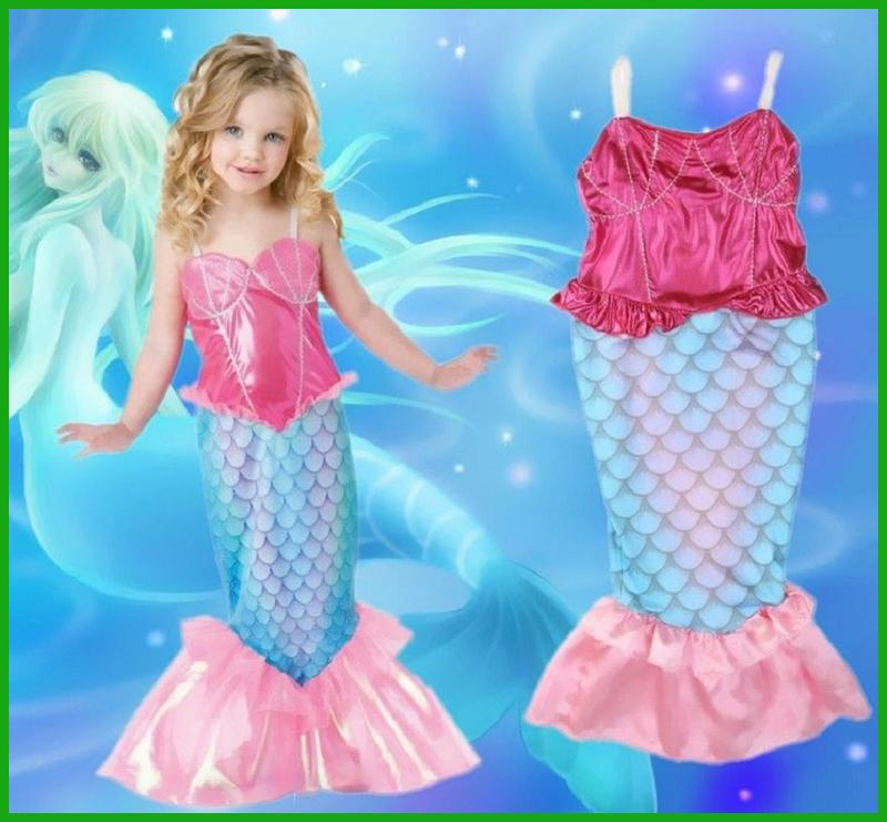 Pink & Blue Children Mermaid Tail Costume Halloween Fancy Kids Mermaid Cosplay Clothes Little Ariel Princess Dress For Girls
