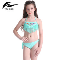 Cute Children Bikini Girls Child Embroidery Design Swimwear Tassel Style Mint Green Swimming Suits