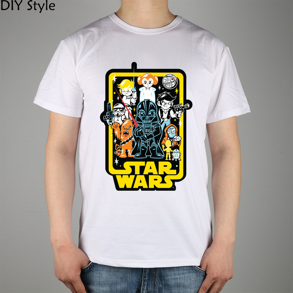 STAR WARS funny cute cartoon SILHOUETTE Film T-shirt Top Lycra Cotton Men T shirt New Design