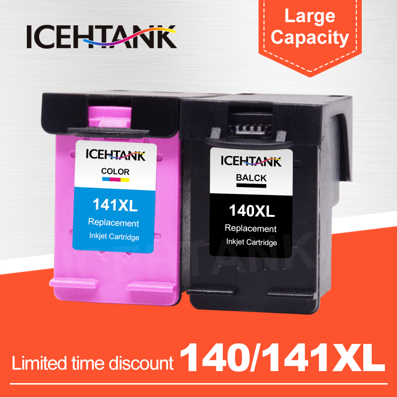 ICEHTANK Compatible Ink Cartridge Replacement For <font><b>HP</b></font> <font><b>140</b></font> <font><b>141</b></font> XL Photosmart C4283 C4583 C4483 C5283 D5363 Printer Cartridges image
