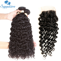 Sapphire Human Hair Weave 3 Bundles With Lace Closure Malaysian Water Wave Human Hair Extension Remy