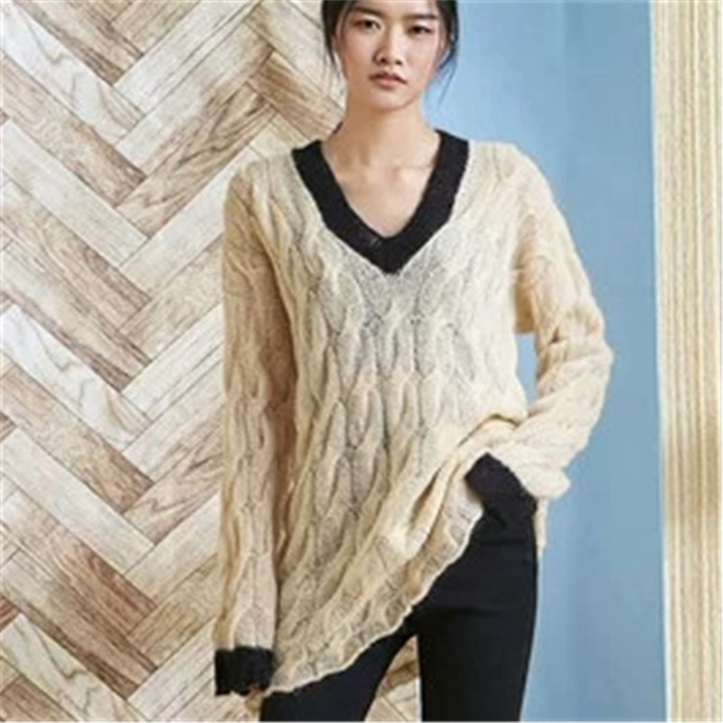 100% Hand Made Wool Vneck Thin Knit Women Fashion Twisted Solid Loose Long Pullover Sweater White 2color Customized