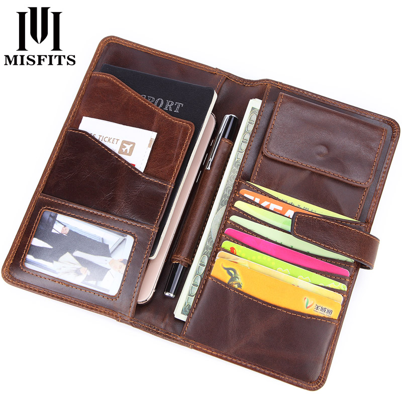 MISFITS New Genuine Leather Men Long Wallet Business Hasp Clutch Organizer Wallets Slim Coin Purse Card Holder Male Phone Pocket