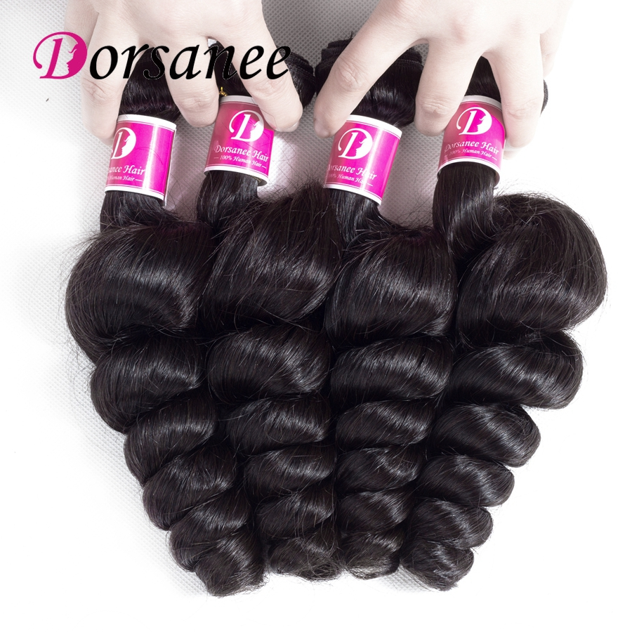 Dorsanee Natural Black Peruvian Loose Hair Bundles 8-26 inch Wavy Weaves 4 Bundle Deal Non Remy Human Hair Extension Natural 1B