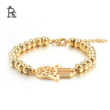 RE New simple stainless steel gold chain hamsa bracelet for women femme pulseras mujer bijoux jewelry unisex F40