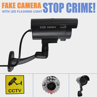 Fake Dummy Surveillance Bullet Camera Red LED Flashing Light Indoor Outdoor Security CCTV Dome Camara Home