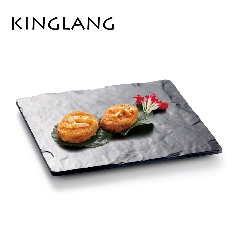 Latest Buffet Sushi Restaurant Melamine round similar stone marble Plate & Serving Tray ...