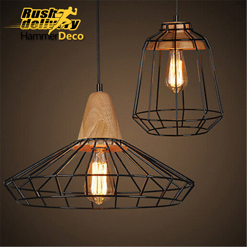 Retro indoor lighting Vintage pendant light iron cage lampshade warehouse style light fixture led lamp creative lights fabric lampshade painting chandelier iron vintage chandeliers american style indoor lighting fixture