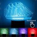 2017 NOVA Vela 3D Ilusão Lâmpada Criativo LEVOU Bulbificação Luz com Interruptor de Toque Grande Navio Noite Luz Crianças Brinquedos de Férias presentes