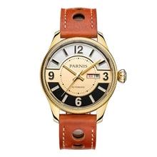 Parnis Gentel II Seriers Luminous Mens Leather Watchband  Fashion Big Dial Dual Calendar Automatic Mechanical Watch Wristwatch