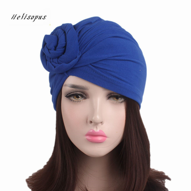 Helisopus New Knotted Turban Hat for Women Twist Knot India Hat Ladies  Chemo Cap Fashion Headbands Women Hair Accessories af5dd980a9e2