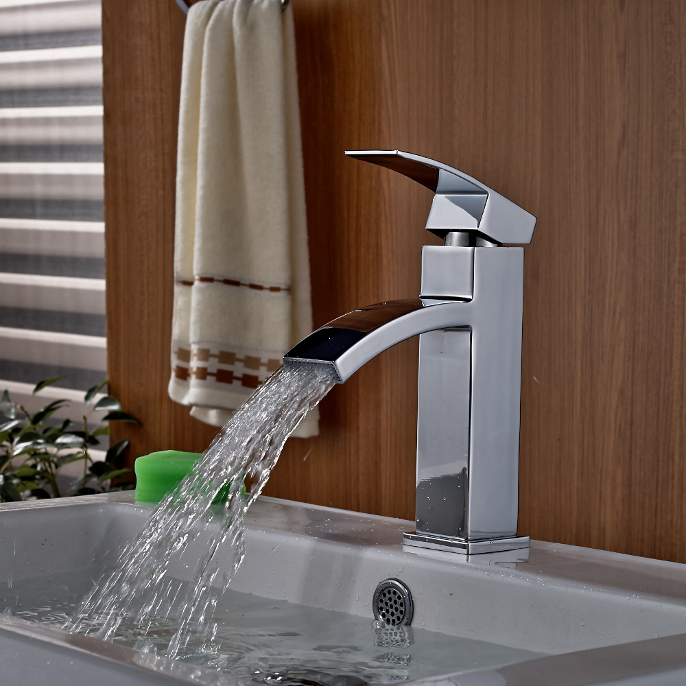 Wholesale And Retail Modern Square Waterfall Spout Bathroom Basin Faucet Single Handle Hole Vessel Sink Mixer Tap Hot / Cold new pull out sprayer kitchen faucet swivel spout vessel sink mixer tap single handle hole hot and cold