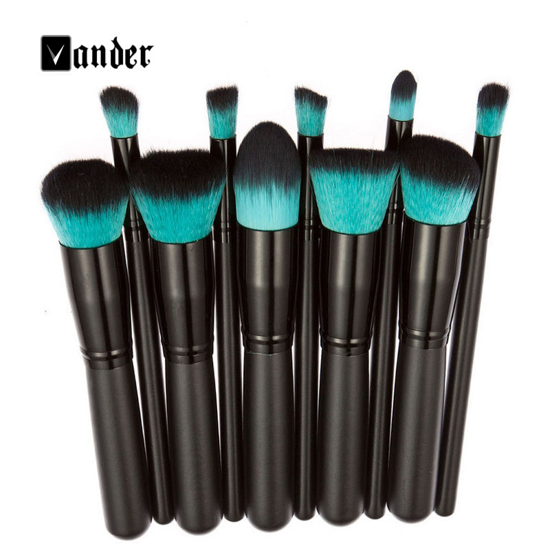 VANDER Professional Beauty Cosmetic 10Pcs Makeup Brushes Set Foundation Powder Brushes Face Cosmetic Brush Make Up Tools Kit new lcbox professional 16 pcs makeup brush set kit pouch bag cosmetic brush kit cosmetic powder foundation eyeshadow brush tools