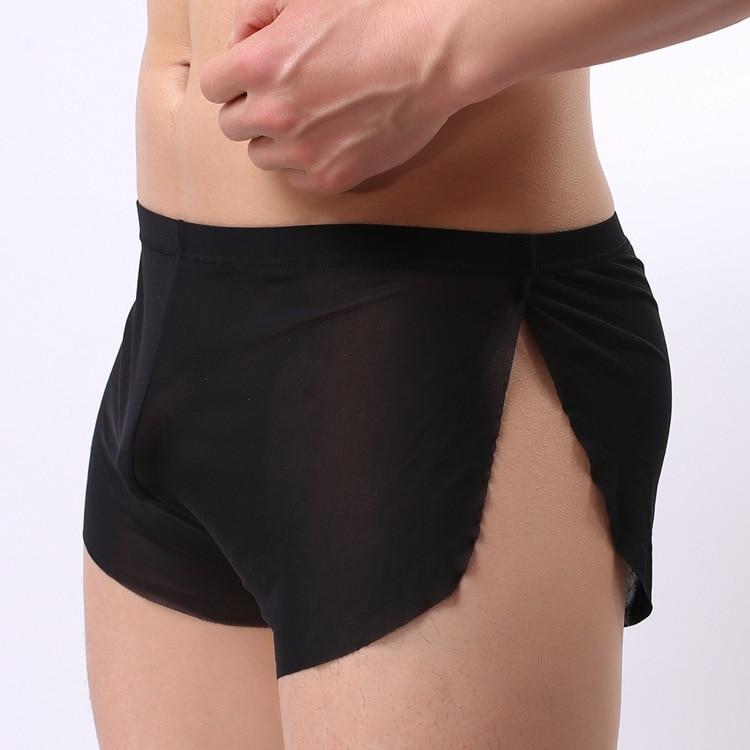 2018 Hot Selling Men Underwear Transparent Net Mesh Bikini boxers Underwear Bulge Underpants low Waist boxers Sexy Lingerie Gift