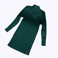 New 2017 Autumn Winter Kids Children Sweater Knitted Dress For Girls Long Warm Princess Dress Big