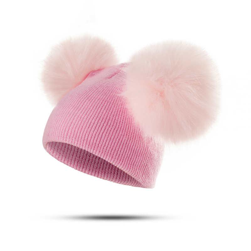 5514ff7cef5f37 ... MOLIXINYU Children Hat Toddler Kids Baby Warm Winter Wool Hat Knit  Beanie Fur Pom Pom Hat ...