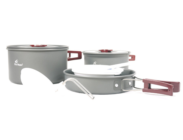 ФОТО Fire Maple FMC-202 2-3 Persons Camping Cooking Set Pot Camp Cookware Picnic Outdoor Cutlery Only 719g
