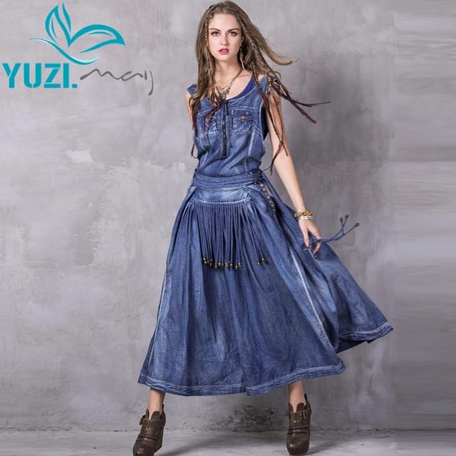 Women Summer Dress 2017 Yuzi.may Boho New Denim Vestidos A-Line Belted Embroidery O-Neck Swing Hem Maxi Sundresses A8205