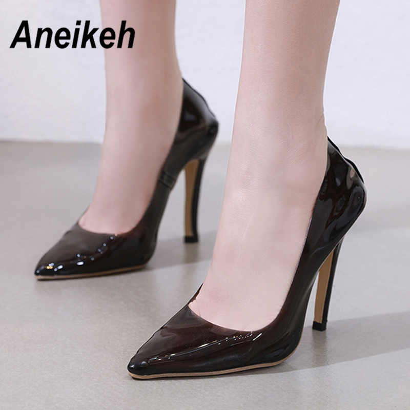 5c83ede997b ... Aneikeh Clear PVC Transparent Pumps Perspex Heel Stilettos High Heels  Point Toes Womens Party Shoes Nightclub ...