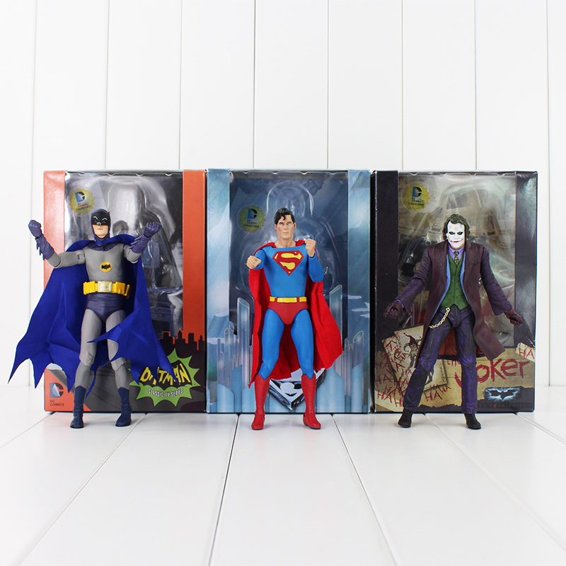 3pcs NECA Superman Batman the Joker PVC Figures Collection Model Toys Kids Gifts 17cm with box New