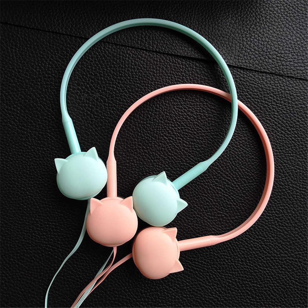 แมวน่ารักสีสเตอริโอสีชมพูหูฟังหูฟังหูฟังสำหรับ Samsung Xiaomi เด็กวันเกิดของขวัญขายปลีกกล่อง