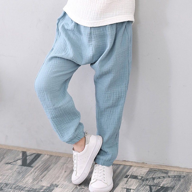 2-7 Yrs Linen Pleated 2018 Baby Boys Girls Summer Cotton Harem Baggy Pants Kids Clothes Children Sweatpants Trousers Breathable contrast panel side pleated harem pants