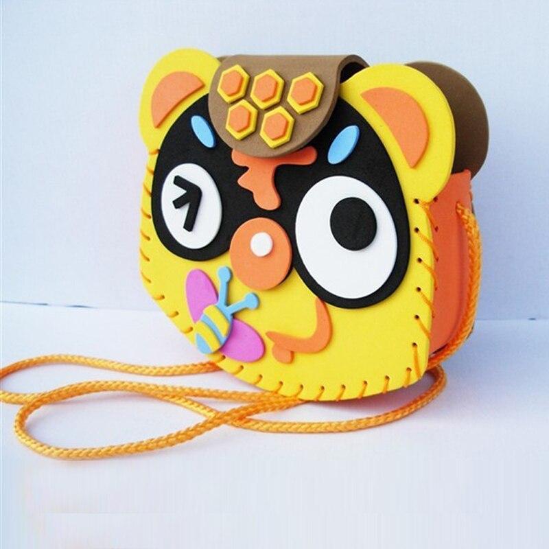 1 Set Kids DIY Crafts EVA Foam Animals Bag Toys For Children Kids Puzzles Interactive Educational Toys Handmade Bags